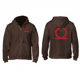 God of War Zip Hoodie Serpent Logo, Brown